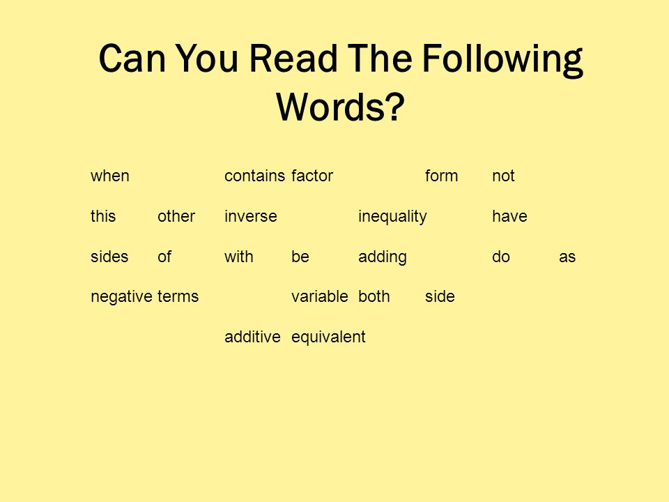 Can You Read The Following Words.