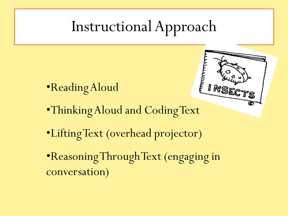 Instructional Approach Reading Aloud Thinking Aloud and Coding Text Lifting Text (overhead projector) Reasoning Through Text (engaging in conversation)