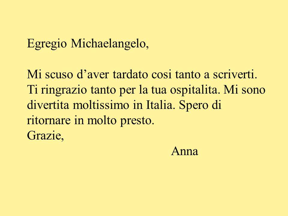 Egregio Michaelangelo, Mi scuso d'aver tardato cosi tanto a scriverti. Ti ringrazio tanto per la tua ospitalita. Mi sono divertita moltissimo in Itali