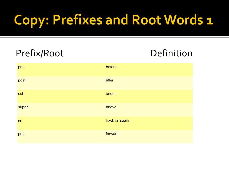 Prefix/RootDefinition prebefore postafter subunder superabove reback or again proforward