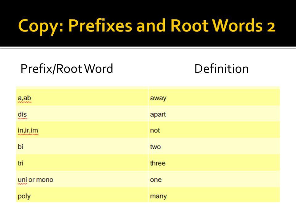 Prefix/Root WordDefinition