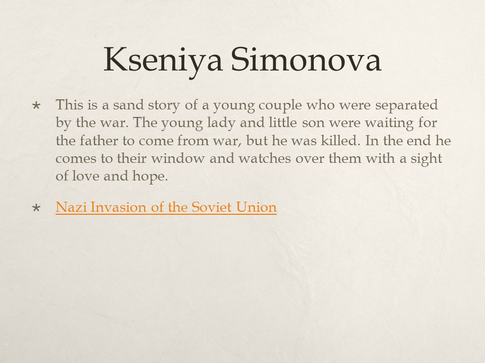 Kseniya Simonova  This is a sand story of a young couple who were separated by the war.