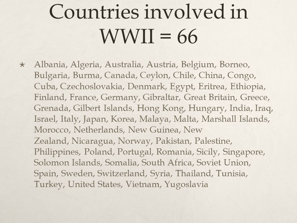Countries involved in WWII = 66  Albania, Algeria, Australia, Austria, Belgium, Borneo, Bulgaria, Burma, Canada, Ceylon, Chile, China, Congo, Cuba, Czechoslovakia, Denmark, Egypt, Eritrea, Ethiopia, Finland, France, Germany, Gibraltar, Great Britain, Greece, Grenada, Gilbert Islands, Hong Kong, Hungary, India, Iraq, Israel, Italy, Japan, Korea, Malaya, Malta, Marshall Islands, Morocco, Netherlands, New Guinea, New Zealand, Nicaragua, Norway, Pakistan, Palestine, Philippines, Poland, Portugal, Romania, Sicily, Singapore, Solomon Islands, Somalia, South Africa, Soviet Union, Spain, Sweden, Switzerland, Syria, Thailand, Tunisia, Turkey, United States, Vietnam, Yugoslavia