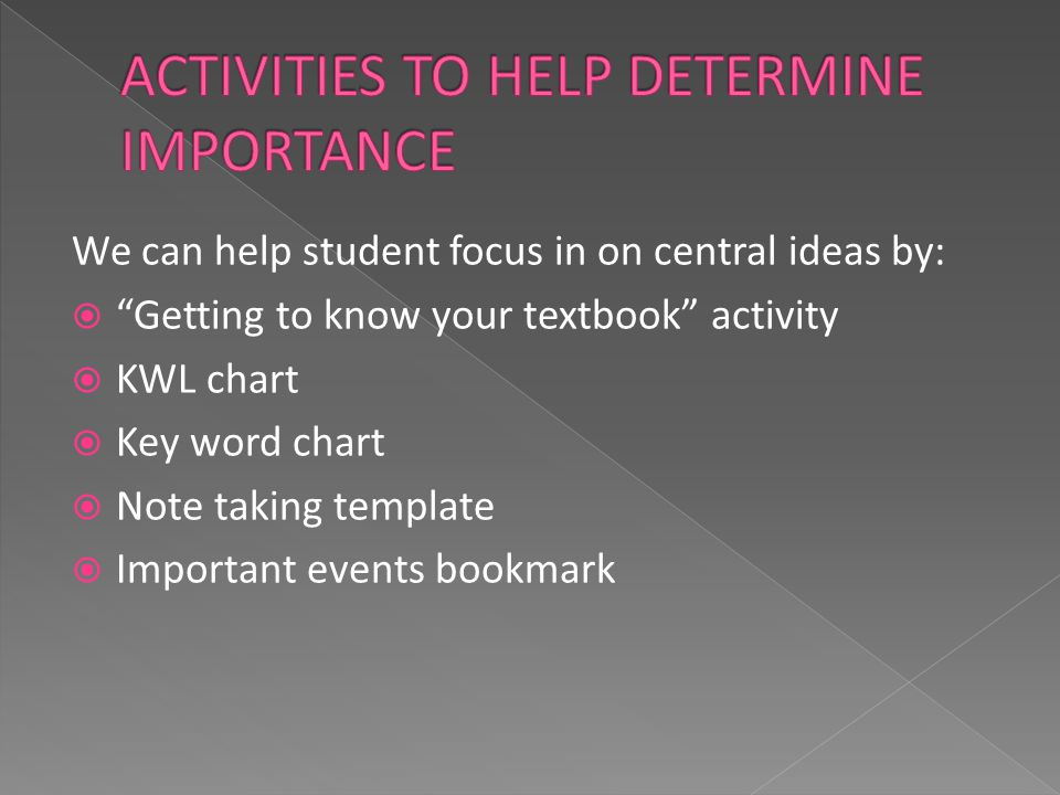 We can help student focus in on central ideas by:  Getting to know your textbook activity  KWL chart  Key word chart  Note taking template  Important events bookmark