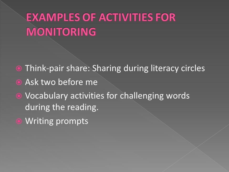  Think-pair share: Sharing during literacy circles  Ask two before me  Vocabulary activities for challenging words during the reading.