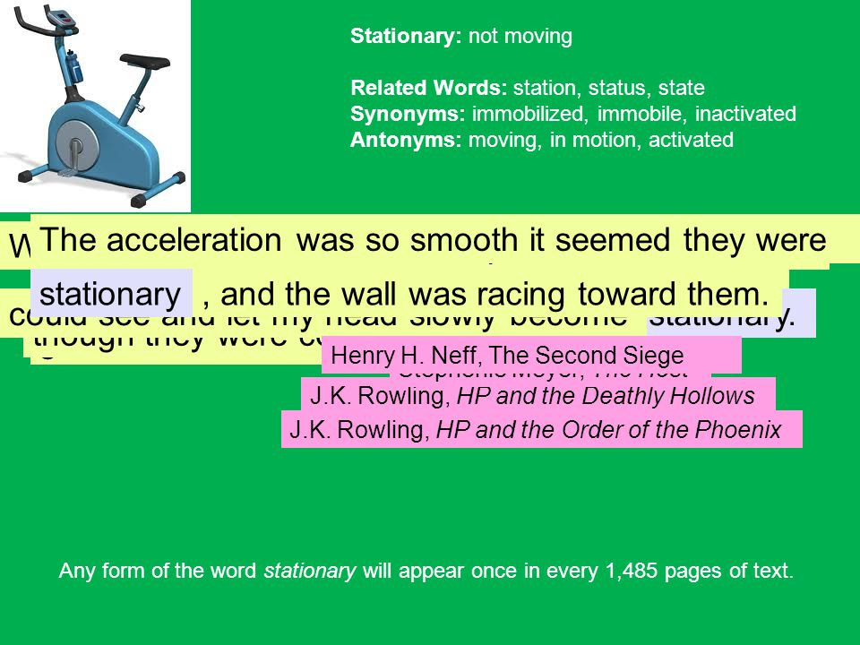 Stationary: not moving Related Words: station, status, state Synonyms: immobilized, immobile, inactivated Antonyms: moving, in motion, activated stationary,walking had J.K.