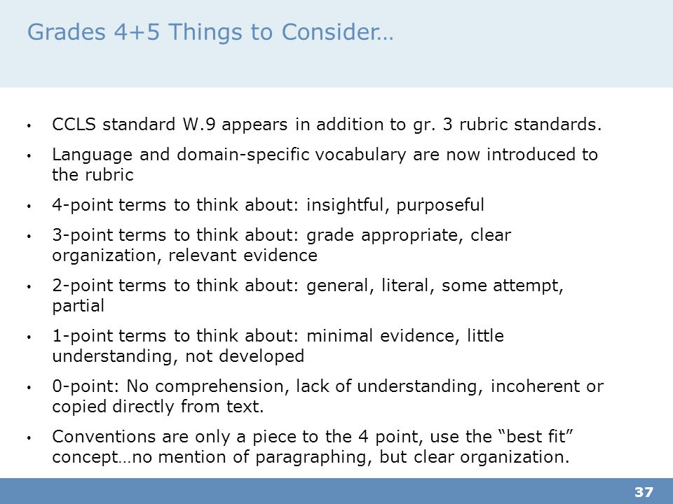 Grades 4+5 Things to Consider… CCLS standard W.9 appears in addition to gr.