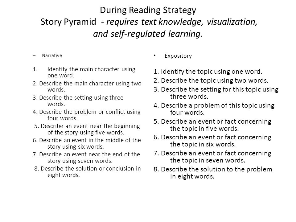 During Reading Strategy Story Pyramid - requires text knowledge, visualization, and self-regulated learning.