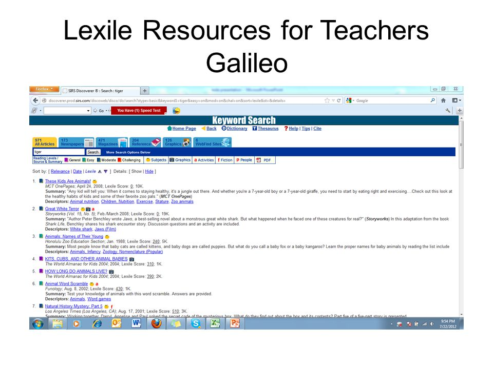 Lexile Resources for Teachers Galileo