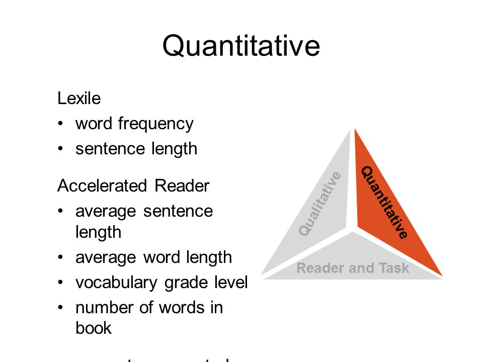 Quantitative Lexile word frequency sentence length Accelerated Reader average sentence length average word length vocabulary grade level number of words in book computer generated