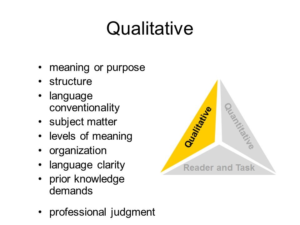 Qualitative meaning or purpose structure language conventionality subject matter levels of meaning organization language clarity prior knowledge demands professional judgment