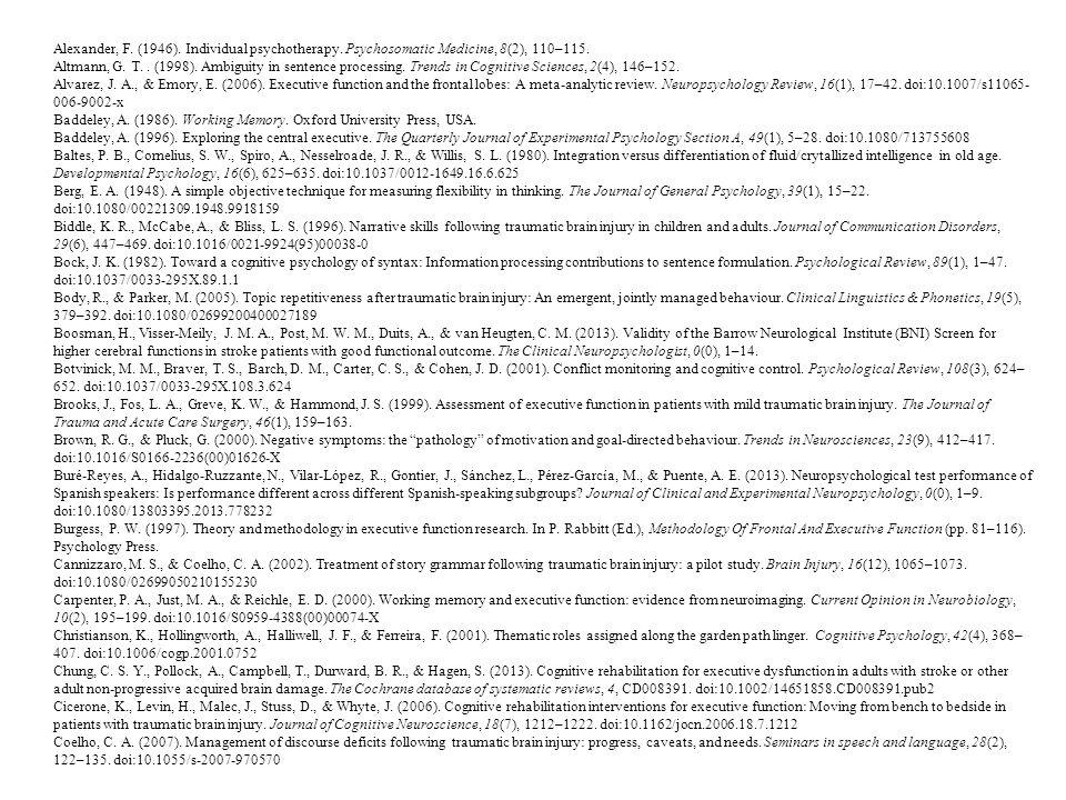 Alexander, F. (1946). Individual psychotherapy. Psychosomatic Medicine, 8(2), 110–115.