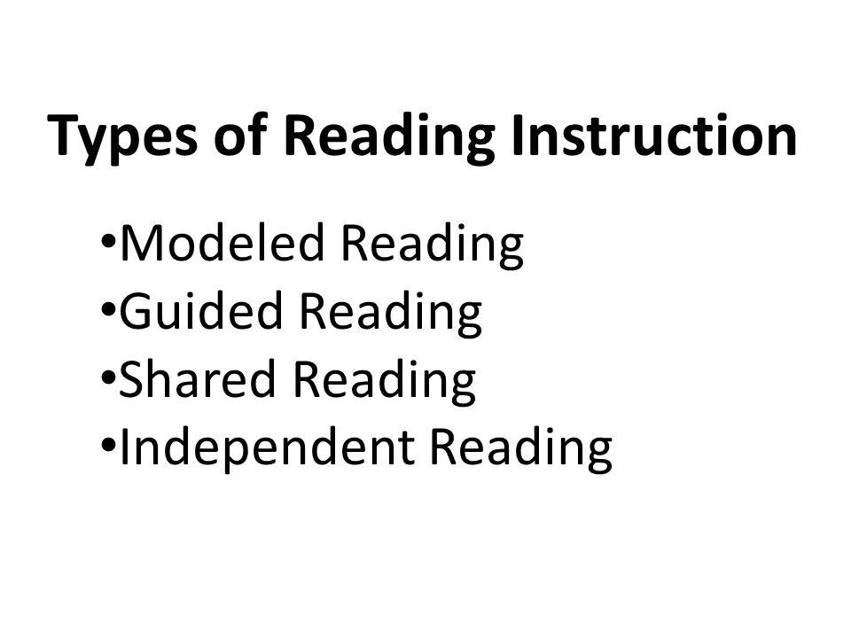Types of Reading Instruction Modeled Reading Guided Reading Shared Reading Independent Reading