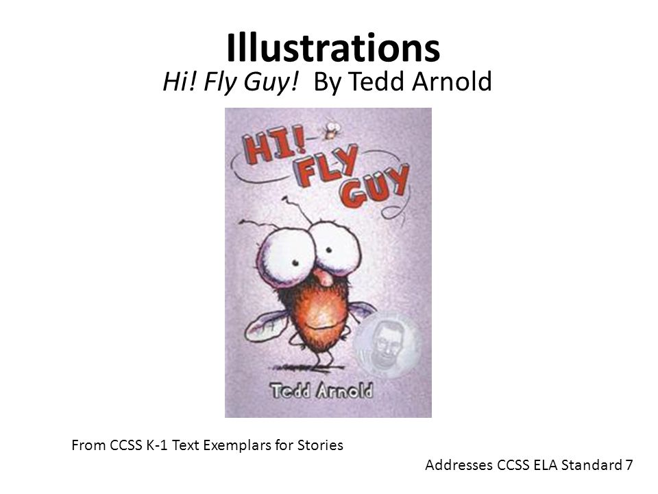 Illustrations Hi! Fly Guy! By Tedd Arnold From CCSS K-1 Text Exemplars for Stories Addresses CCSS ELA Standard 7