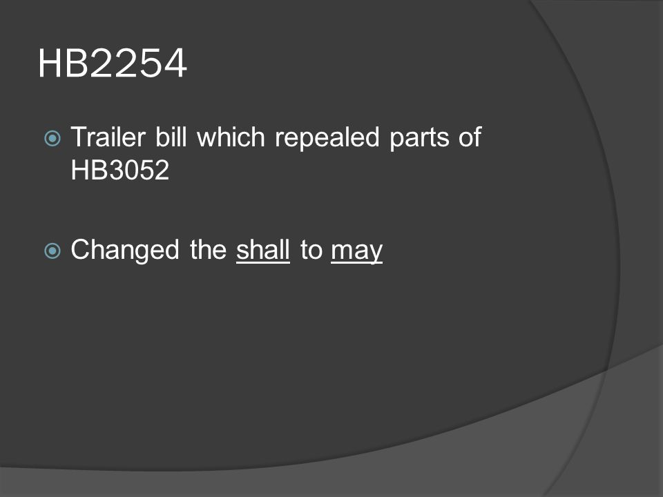 HB2254  Trailer bill which repealed parts of HB3052  Changed the shall to may
