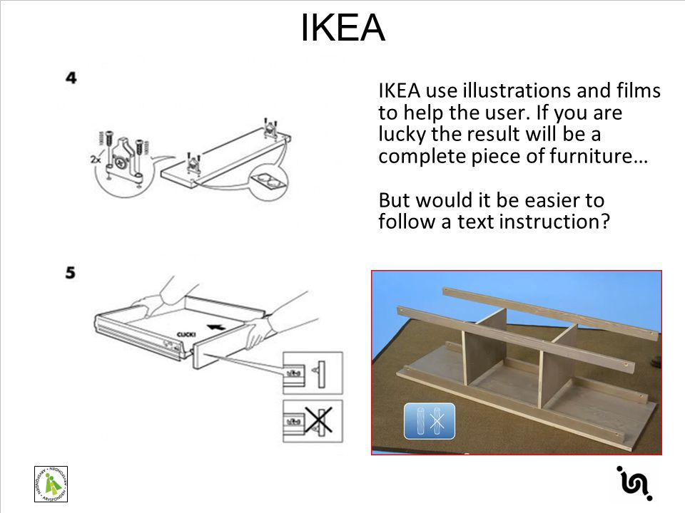 IKEA use illustrations and films to help the user. If you are lucky the result will be a complete piece of furniture… But would it be easier to follow