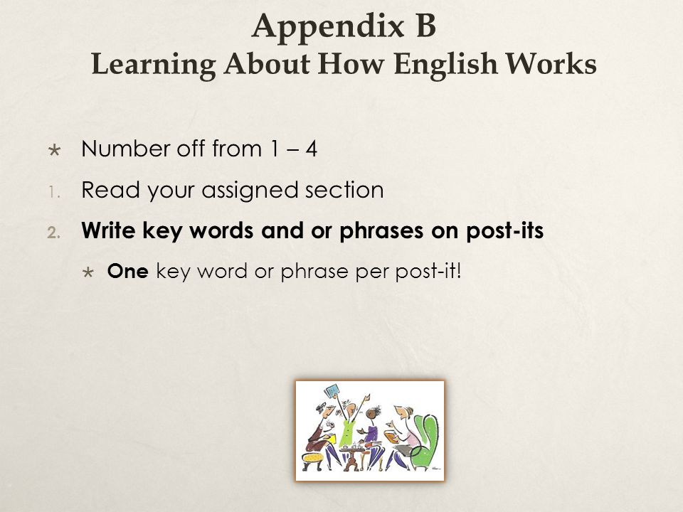 Appendix B Learning About How English Works  Number off from 1 – 4 1.