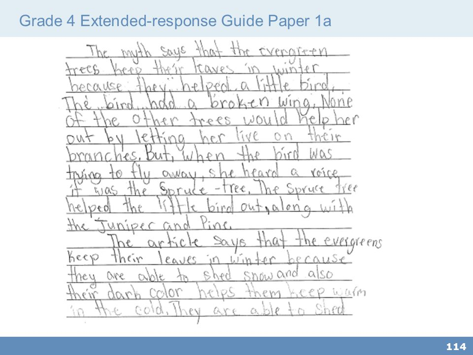 Grade 4 Extended-response Guide Paper 1a 114