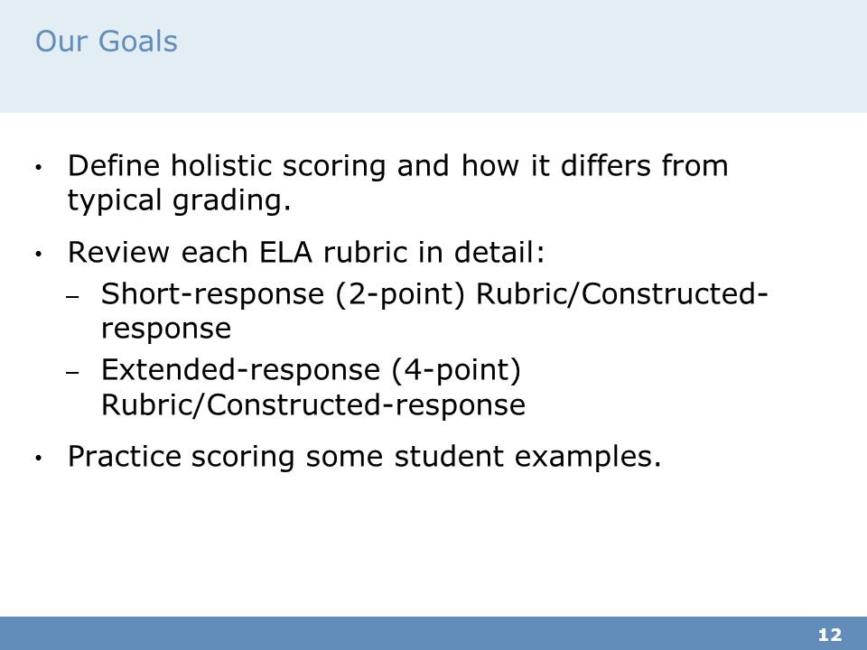 Our Goals Define holistic scoring and how it differs from typical grading.