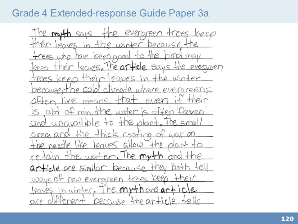 Grade 4 Extended-response Guide Paper 3a 120