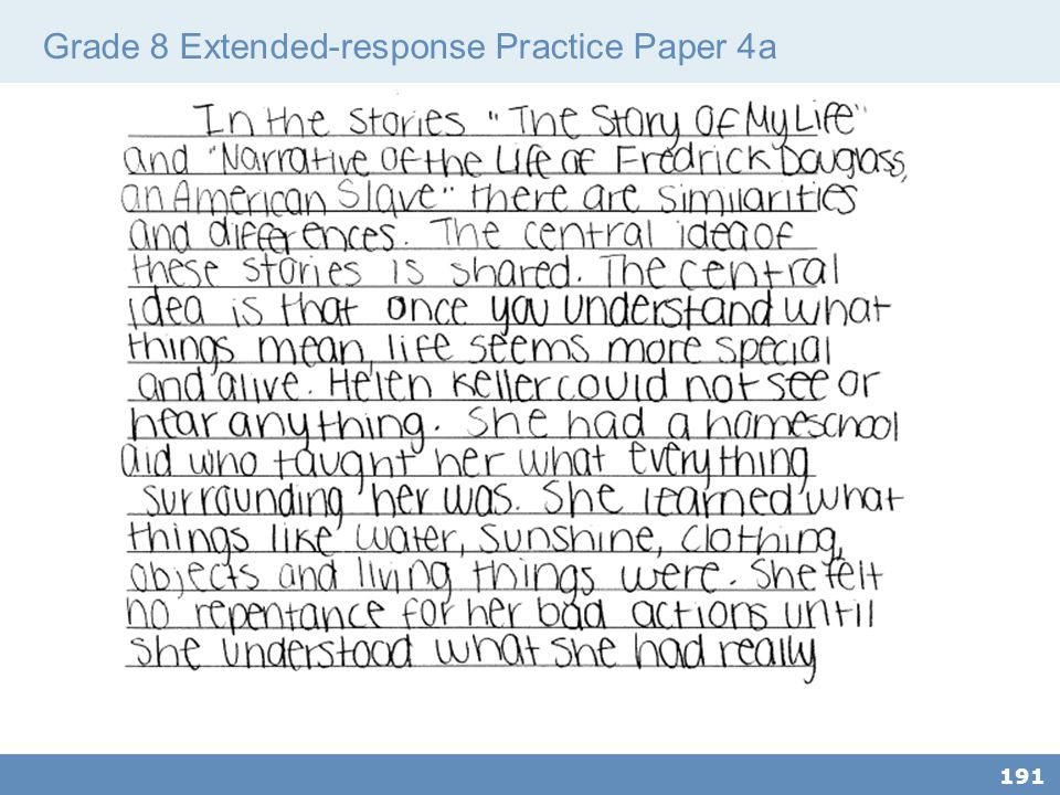 Grade 8 Extended-response Practice Paper 4a 191
