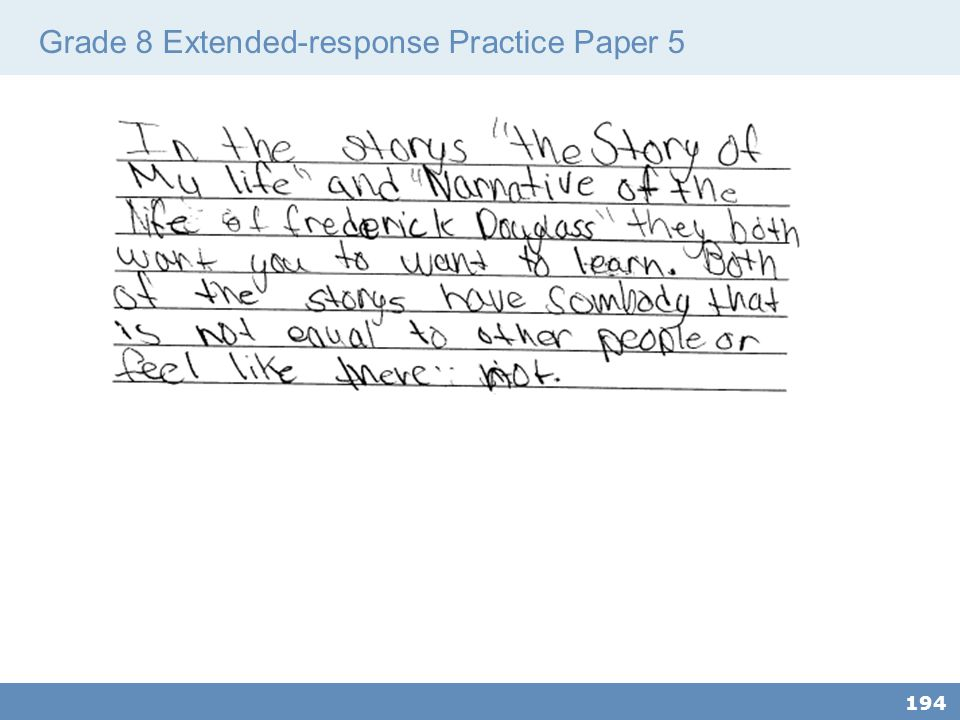 Grade 8 Extended-response Practice Paper 5 194