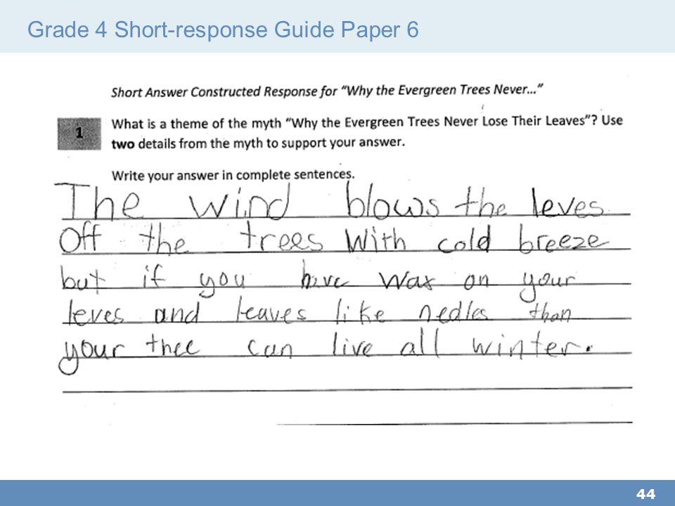 Grade 4 Short-response Guide Paper 6 44
