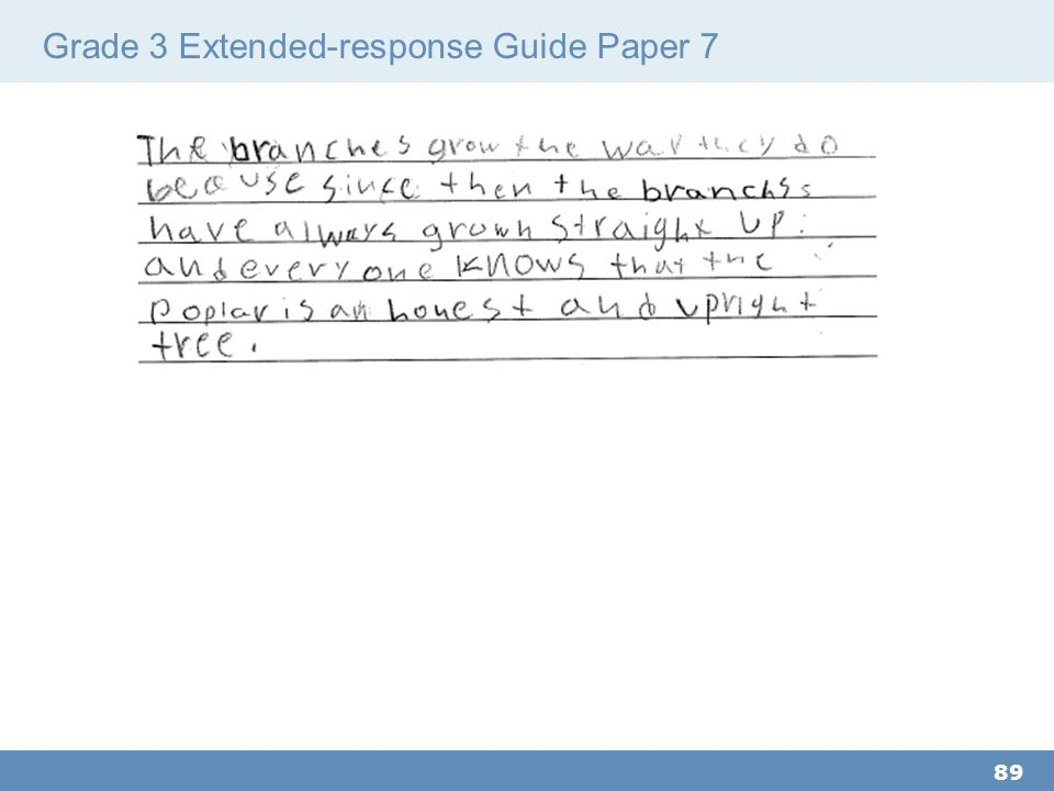 Grade 3 Extended-response Guide Paper 7 89