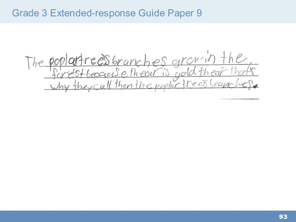 Grade 3 Extended-response Guide Paper 9 93