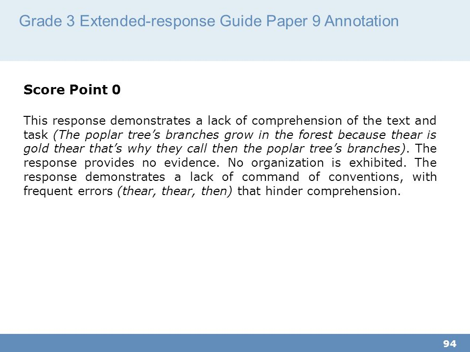 Grade 3 Extended-response Guide Paper 9 Annotation 94 Score Point 0 This response demonstrates a lack of comprehension of the text and task (The poplar tree's branches grow in the forest because thear is gold thear that's why they call then the poplar tree's branches).