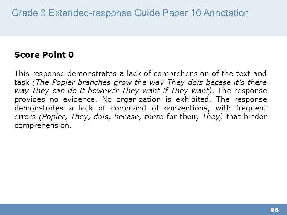 Grade 3 Extended-response Guide Paper 10 Annotation 96 Score Point 0 This response demonstrates a lack of comprehension of the text and task (The Popler branches grow the way They dois becase it's there way They can do it however They want if They want).