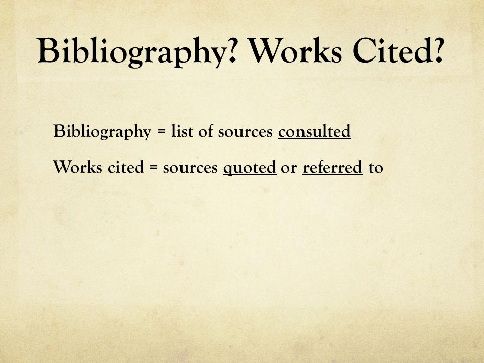 Bibliography. Works Cited.