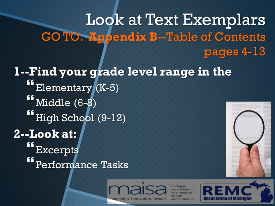 Look at Text Exemplars GO TO: Appendix B--Table of Contents pages 4-13 1--Find your grade level range in the  Elementary (K-5)  Middle (6-8)  High School (9-12) 2--Look at:  Excerpts  Performance Tasks