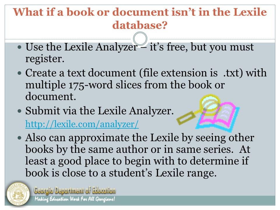 What if a book or document isn't in the Lexile database.