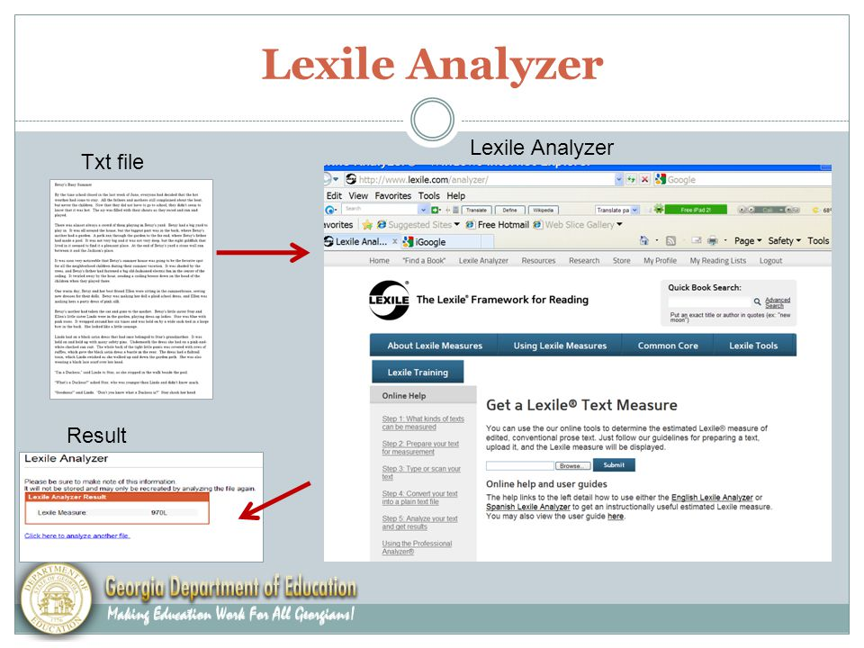 Lexile Analyzer Txt file Lexile Analyzer Result