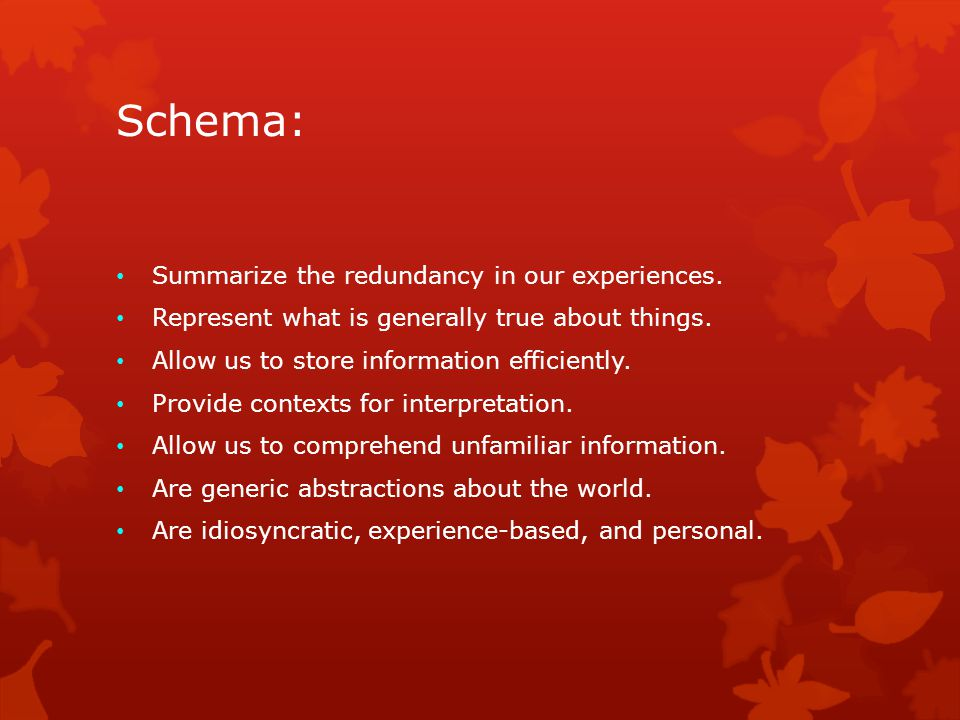 Schema: Summarize the redundancy in our experiences.