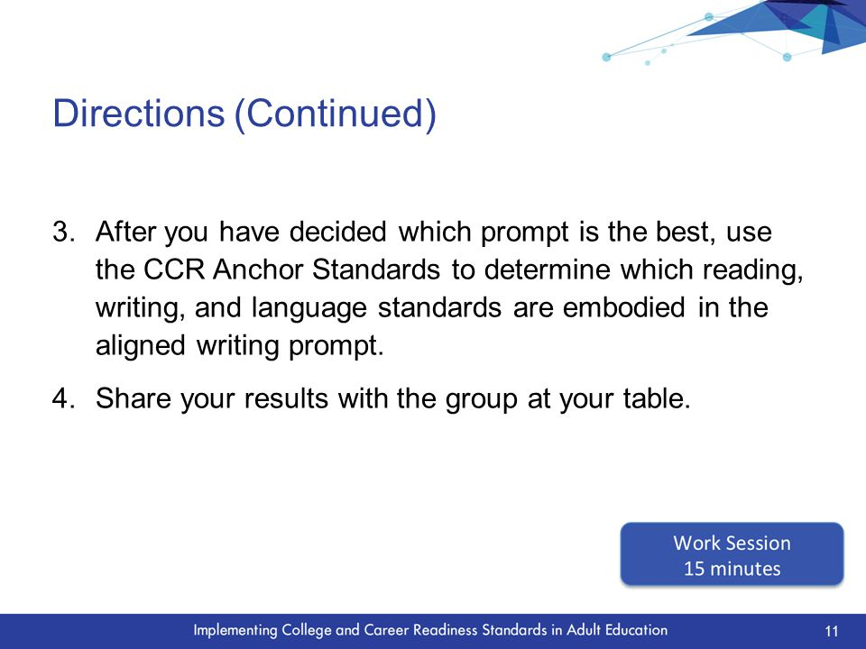 Directions (Continued) 3.After you have decided which prompt is the best, use the CCR Anchor Standards to determine which reading, writing, and language standards are embodied in the aligned writing prompt.