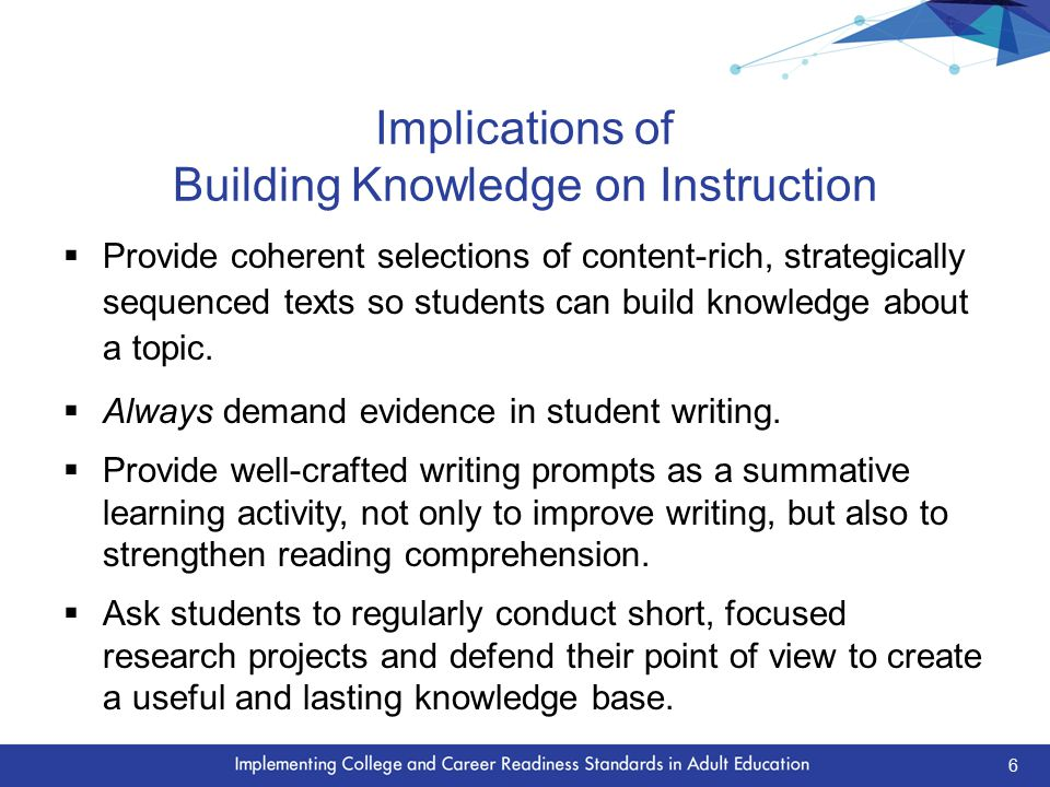 Implications of Building Knowledge on Instruction  Provide coherent selections of content-rich, strategically sequenced texts so students can build knowledge about a topic.