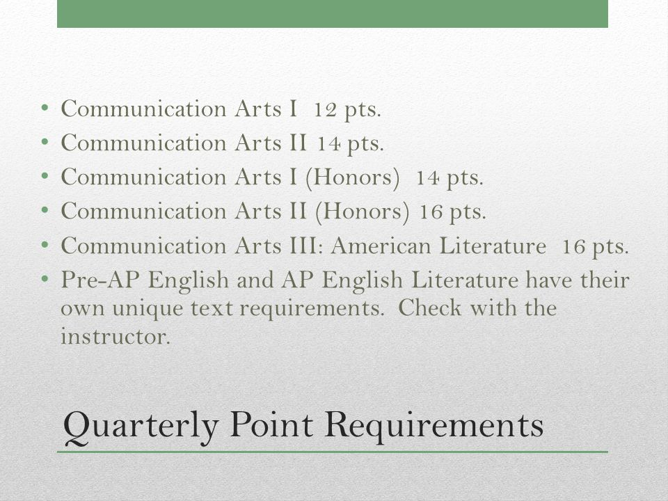 Quarterly Point Requirements Communication Arts I 12 pts.