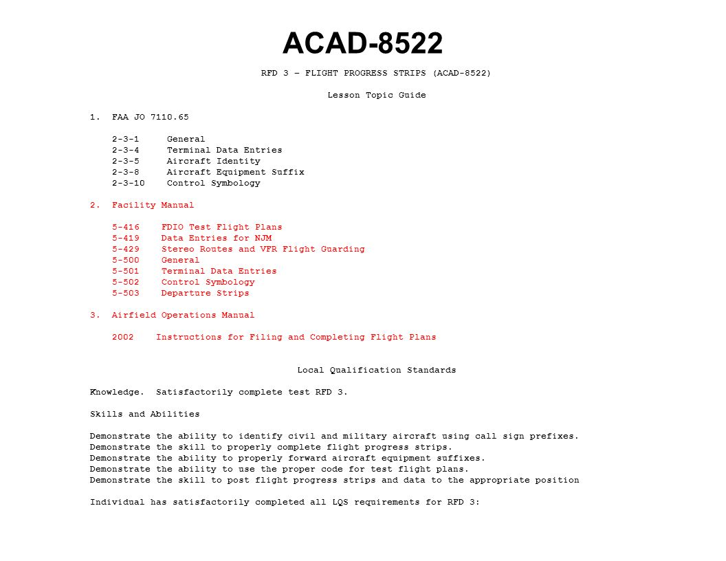ACAD-8522 RFD 3 – FLIGHT PROGRESS STRIPS (ACAD-8522) Lesson Topic Guide 1.