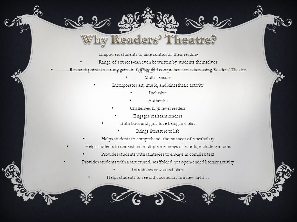 BUT MOSTLY…READERS' THEATRE IS… Easy, cheap, and an absolute blast!