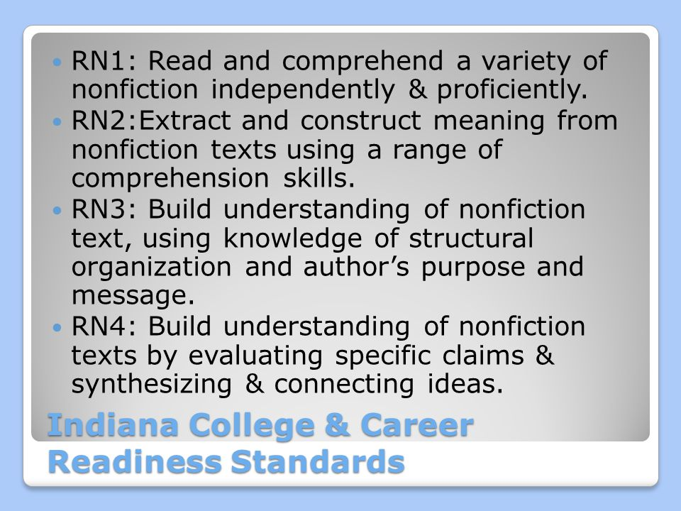 Indiana College & Career Readiness Standards RN1: Read and comprehend a variety of nonfiction independently & proficiently.