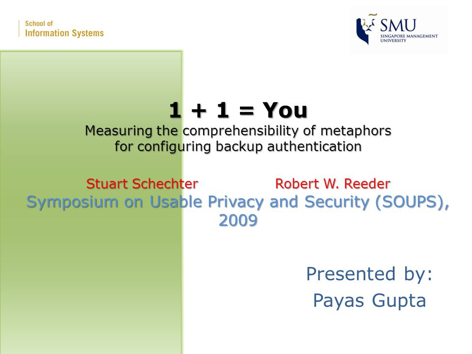 1 + 1 = You Measuring the comprehensibility of metaphors for configuring backup authentication Stuart SchechterRobert W.