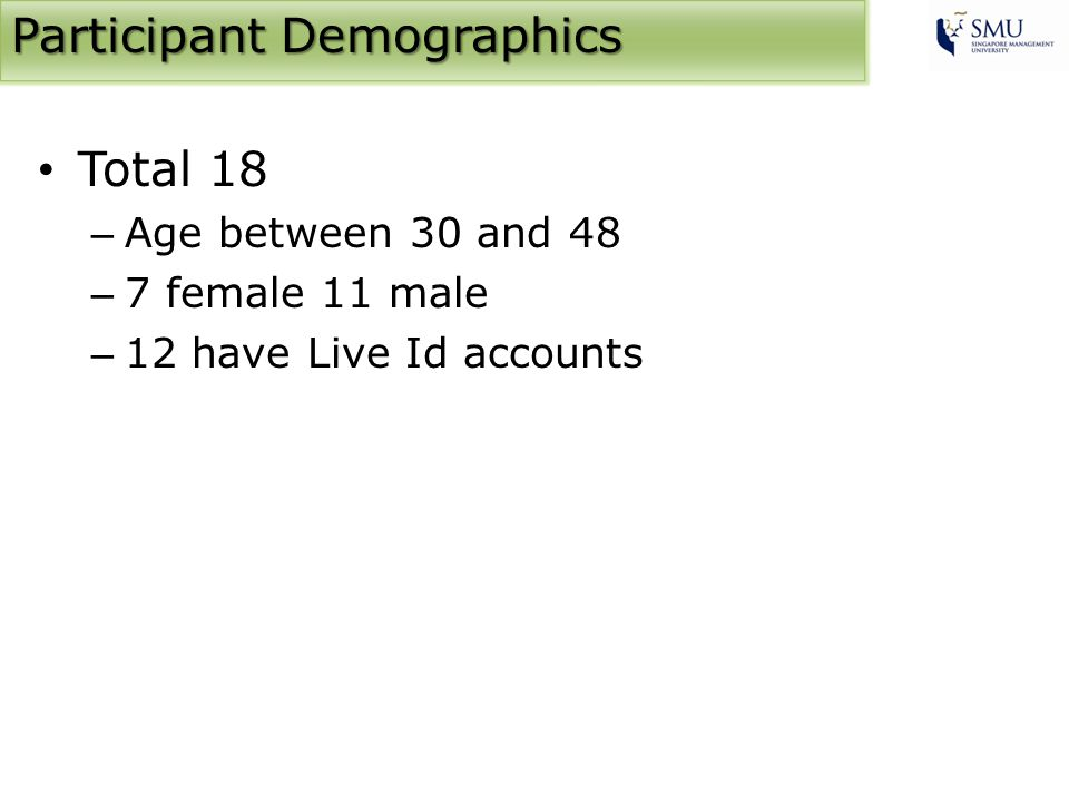 Participant Demographics Total 18 – Age between 30 and 48 – 7 female 11 male – 12 have Live Id accounts