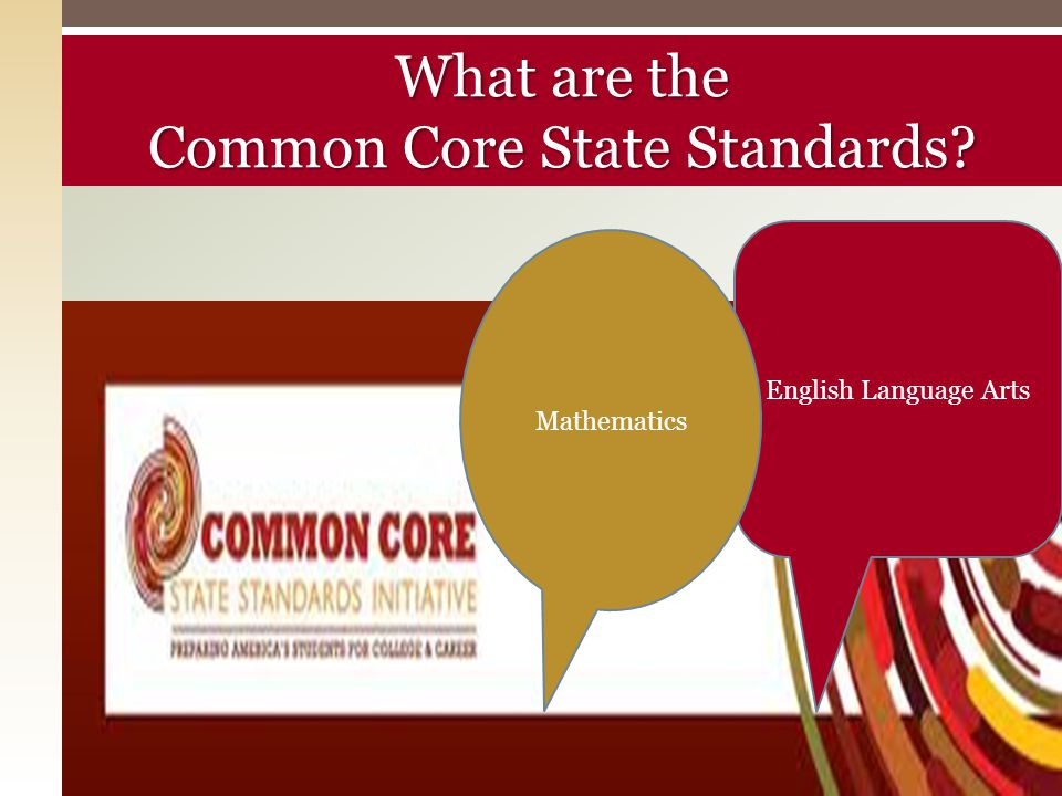 What are the Common Core State Standards? English Language Arts Mathematics