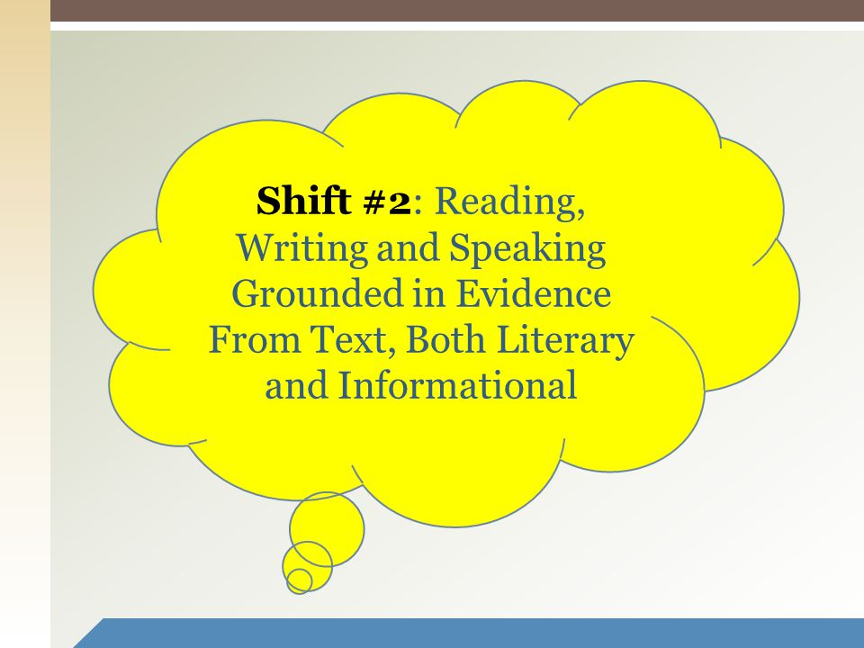 11 Shift #2: Reading, Writing and Speaking Grounded in Evidence From Text, Both Literary and Informational