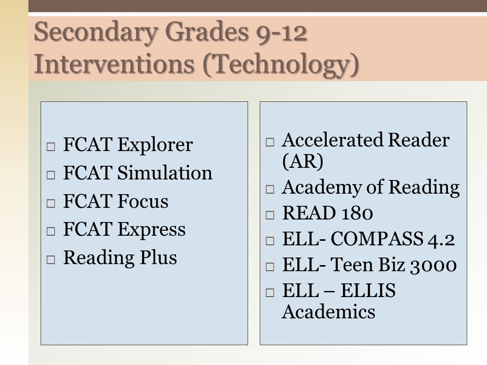Secondary Grades 9-12 Interventions (Technology)  FCAT Explorer  FCAT Simulation  FCAT Focus  FCAT Express  Reading Plus  Accelerated Reader (AR