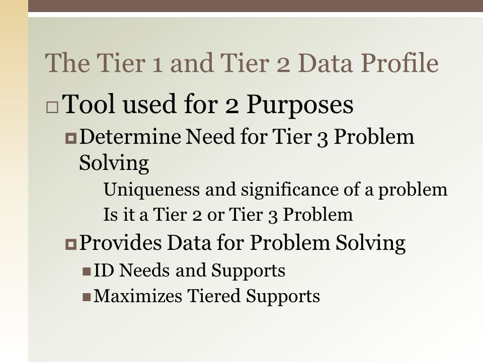 The Tier 1 and Tier 2 Data Profile  Tool used for 2 Purposes  Determine Need for Tier 3 Problem Solving Uniqueness and significance of a problem Is it a Tier 2 or Tier 3 Problem  Provides Data for Problem Solving ID Needs and Supports Maximizes Tiered Supports