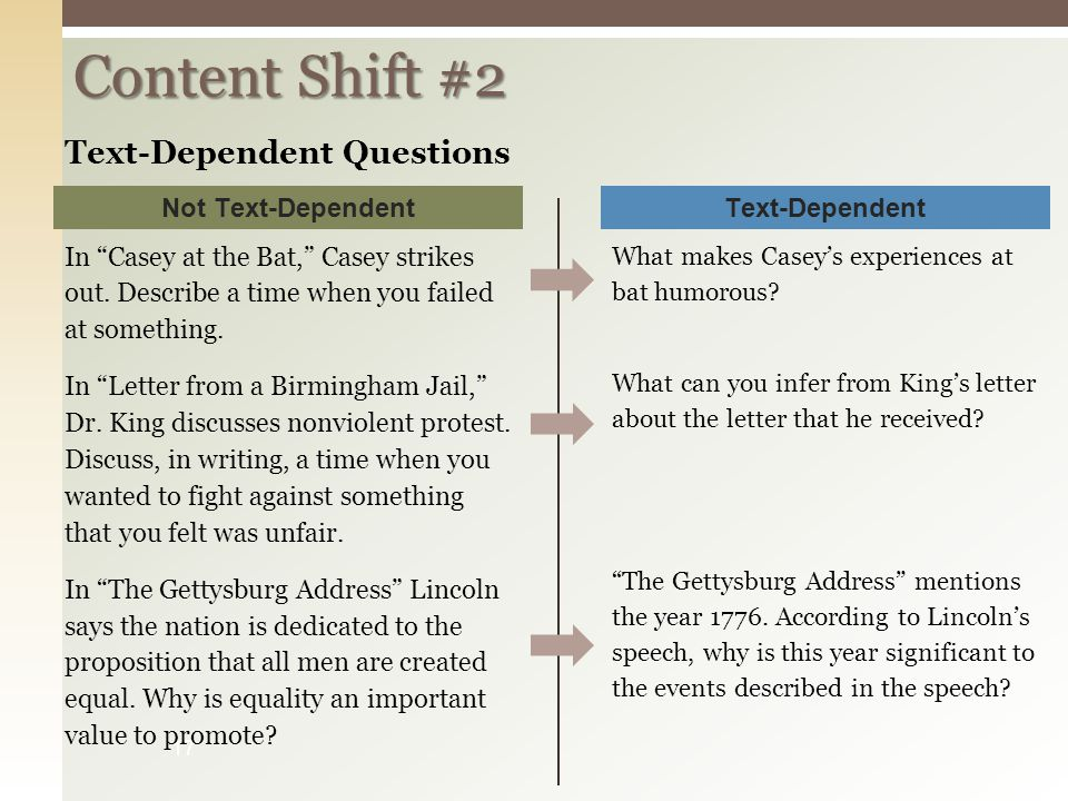 "Content Shift #2 17 In ""Casey at the Bat,"" Casey strikes out. Describe a time when you failed at something. In ""Letter from a Birmingham Jail,"" Dr. Ki"
