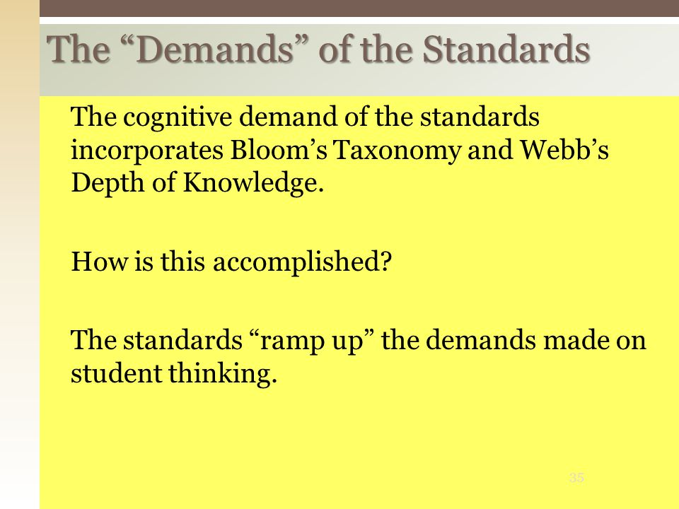 The Demands of the Standards The cognitive demand of the standards incorporates Bloom's Taxonomy and Webb's Depth of Knowledge.
